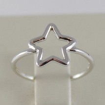 SOLID 18K WHITE GOLD BAND STAR RING LUMINOUS SMOOTH, STARS, MADE IN ITALY image 1