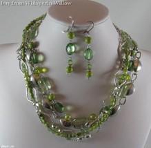 Multi Strand Peridot Green and Silver Fashion Jewelry Set - $26.95