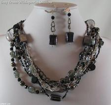 Multi Strand Steel Blue and Silver Fashion Gun Metal Jewelry Set - $26.95