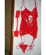 3 Pc Red Lacy Teddy Lingerie set - $7.91