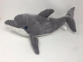 "Dolphin Plush Sea World 20"" Blue Eyes Grey White Mammal Fish Ocean Stuffed - $14.00"