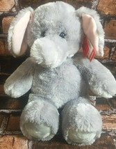 "Aurora Plush Eli Elephant Stuffed Animal Gray Pink Gifts of Smiles 16"" S... - $19.39"