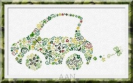 Small Green Car cross stitch chart AAN Alessandra Adelaide Needleworks - $16.20