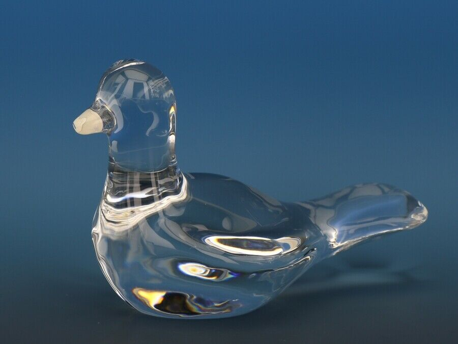 Vintage Baccarat Crystal Duck Desk Ornament Paperweight Round Acid Mark