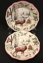 """2 Better Homes & Gardens Heritage Collection Buck Winter Forest 8-3/4"""" P... - $21.99"""