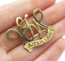 925 Sterling Silver - Vintage Shiny Gold Tone Initials Brooch Pin - BP4626 - $26.38