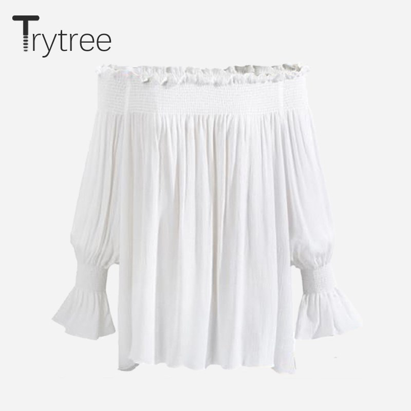 Trytree 2018 Summer Women Blouse Sexy Polyester Fashion Shirt Slash neck off Whi