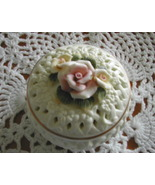 Porcelain Bisque basket weave Roses Trinket Box... - $10.00