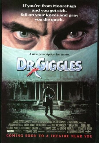 DR. GIGGLES Original Trimmed Paper Movie Advertisement 1992 Larry Drake