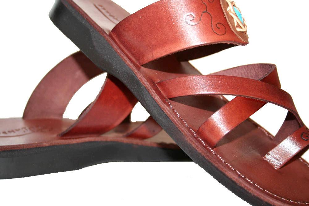 Dark Brown Decor Bath Leather Sandals