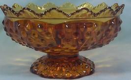 Fenton Crystal Amber Hobnail 6 Candle Holder Pedestal Bowl - $8.81