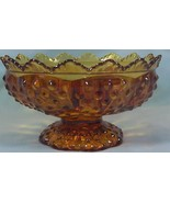 Fenton Crystal Amber Hobnail 6 Candle Holder Pedestal Bowl - $8.81