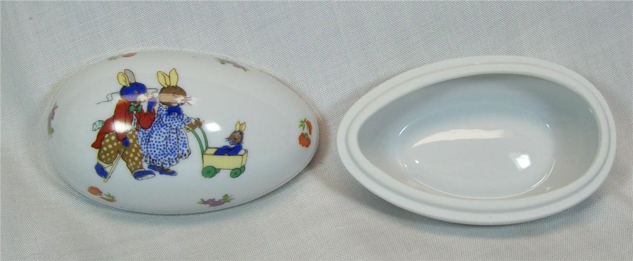 Lefton China Porcelain Egg Trinket Box Rabbits Transfer # 1894