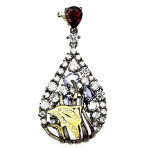 Pendant Tanzanite and Garnet . Silver 925 rhodium black + 925 silver chain - $131.61