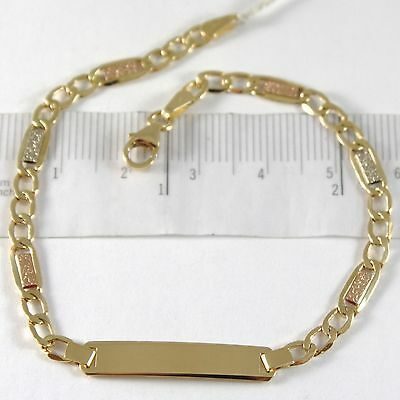 Yellow Gold Bracelet White Pink 750 18k, oval and Plate for Engraving