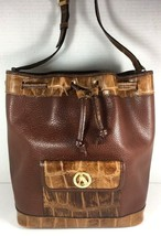 Francois Marot Paris Vintage Brown Leather with Reptile Print Trim Bucke... - $57.22