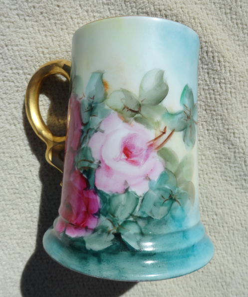 Primary image for Antique Porcelain Rosenthal Bavaria Tankard Mug Hand Painted Roses 1911