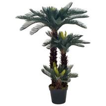 "vidaXL Artificial Plant Cycas Palm with Pot Green 49.2"" Faux Plant Leaf ... - $125.99"