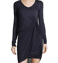 NWT WOMEN Muse Knotted Knit Jersey  Dress with Faux Leather Navy/Black s... - $44.99