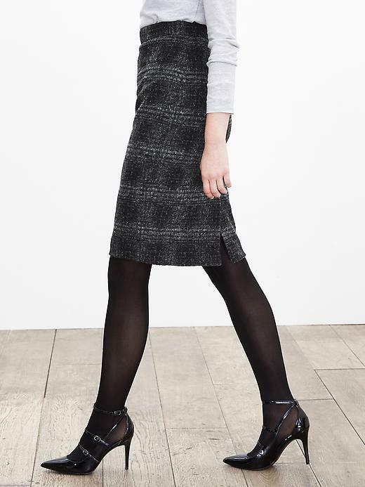 Banana Republic Plaid Pencil Skirt, Gray/black, Wool Blend, Size 12, NWT image 3