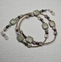 Glasses Sunglasses Chain Holder Beaded Pearl Glass Crystal Handmade Gree... - $24.24