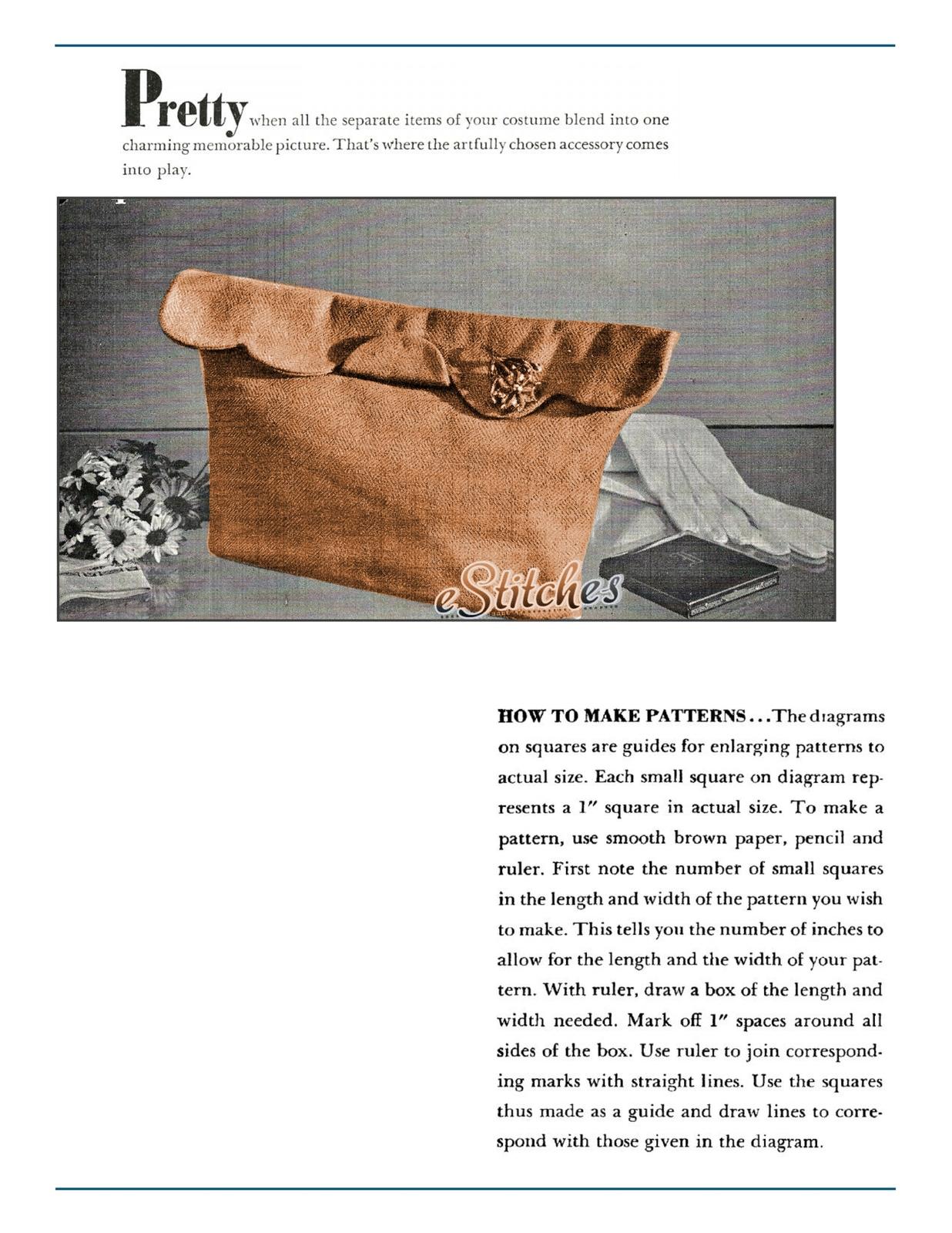 Vintage Bag pattern, Scallop Edge Clutch Bag - Sewing pattern (PDF 1704)