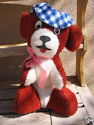Vintage DOG w/Checkered Cap Plush Carnival