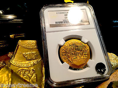 "Primary image for MEXICO 8 ESCUDOS DATED! ""1715 PLATE FLEET SHIPWRECK"" 1715 NGC 55 GOLD DOUBLOON"