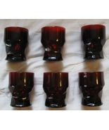 Georgian ruby red honeycomb water glasses in go... - $30.00
