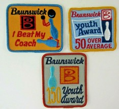 3 Bowling Patches Brunswick 150 Youth Award 50 Over Average I Beat My Co... - $7.69