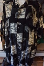 Hawaiian Men's Dress Shirt Tropical Motif Size Small 100% Cotton Black &... - $12.95