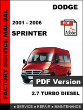 DODGE SPRINTER 2001 2002 2003 2004 2005 2006 FACTORY SERVICE REPAIR OEM ... - $14.95
