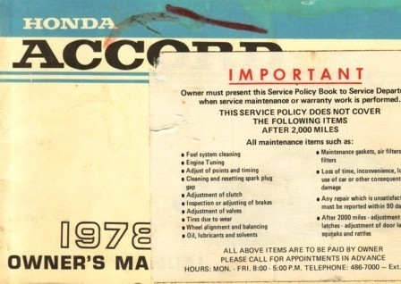 1978 Honda ACCORD owner's manual book guide