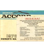 1978 Honda ACCORD owner's manual book guide - $7.99