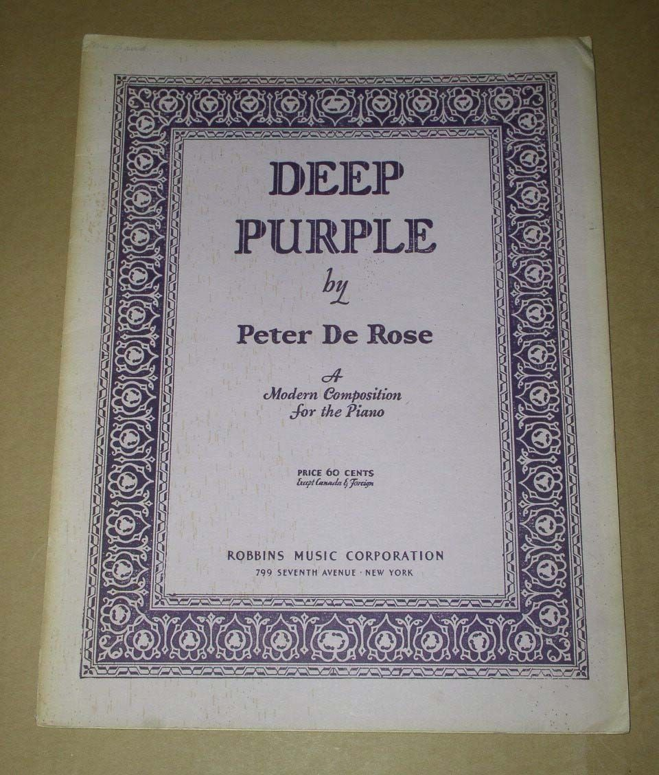 Deep Purple Vintage Song Book 1934 Peter De Rose