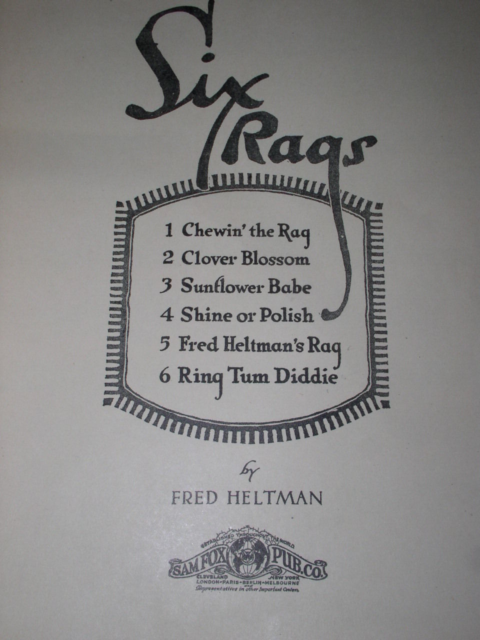 Fred Heltman Six Rags Ragtime Vintage Song Book 1925