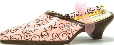 Pink with Swirls Ceramic Shoe with Notepad Gift Set