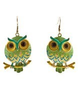 Green Owl Dangle Fashion Earrings - $19.31