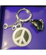 Swarovski Argentosc Peace Sign Charm Key Chain Key Ring - $29.70