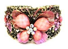 Vintage Inspired Pink Butterfly Rhinestones Fashion Cuff Bracelet