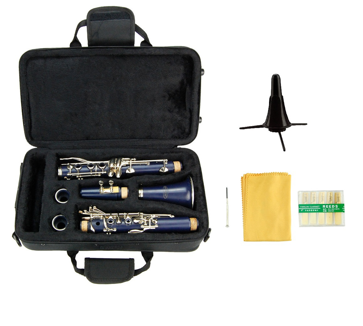 Merano B Flat BLUE Clarinet with Carrying Case,Free Stand,Extra 10 Reeds