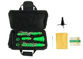 Merano B Flat GREEN Clarinet with Carrying Case,Free Stand,Extra 10 Reeds - $89.00