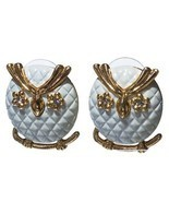 Quilted Owl Fashion Stud Earrings with Rhinesto... - $19.28