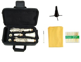 Merano B Flat WHITE Clarinet with Carrying Case,Free Stand,Extra 10 Reeds - $89.00