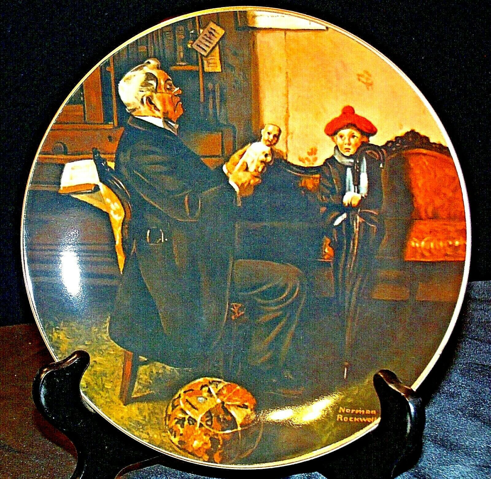 """1977 """"The Doctor and the Doll"""" Norman Rockwell Plate with Box ( Royalwood China)"""