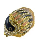 Bejeweled Marine Life Jewelry Trinket Box  Golden Fish - $34.65