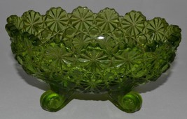 "Vintage L G Wright Green Glass Daisy & Button Footed 5"" Oval Candy Dish ... - $24.95"