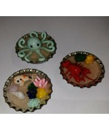 Sea Life Bottle Cap Magnets Refrigerator Accessory Nautical Lobster Sand... - $8.00