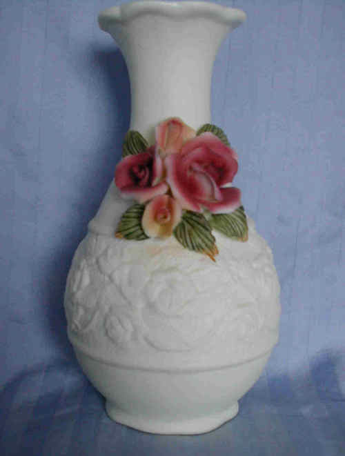 Ceramic Bisque Rose design Bud Vase - New INVENTORY CLEARANCE SALE!