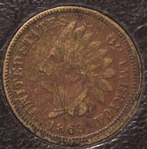 1863 Indian Head CN Cent VG Details (scratches, grainy) #0064 - $7.49